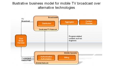 Illustrative business model for mobile TV broadcast over alternative technologies