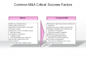 Common M&A Critical Success Factors