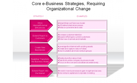 Core e-Business Strategies, Requiring Organizational Change