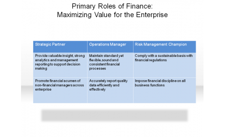 Primary Roles of Finance: Maximizing Value for the Enterprise