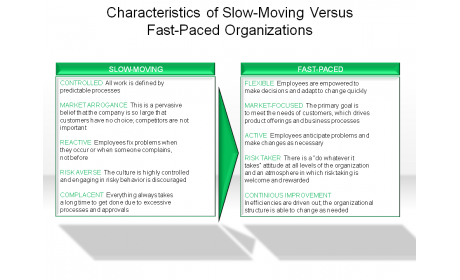 Characteristics of Slow-Moving Versus Fast-Paced Organizations