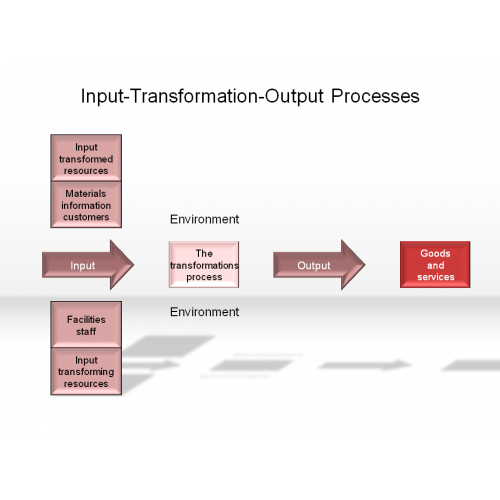 organization input transformation process output All operations in an organization produce products and services by changing inputs into outputs using 'input-transformation-output processes operations are.